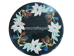 """16"""" Black Marble Round Coffee Table Top Precious Mosaic Floral Inlay Decors B169"""