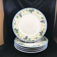 "Set of 5 PFALTZGRAFF MERLOT Grape Pattern 10-3/4"" Dinner Plates"