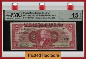 TT PK 235 1967 COSTA RICA BANCO CENTRAL 2 COLONES PMG 45 EPQ CHOICE EXT FINE!