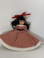 "Vintage Madame Alexander Doll ""Jo"" Red White Striped Dress Eyes Close & Open USA"