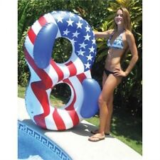 """NEW Swimline Americana Double Ring 65"""" x 42"""" Inflatable American Flag Pool Toy"""