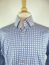 DAVID SADDLER ITALY BLUE PLAID BUTTON DOWN COLLAR DRESS CASUAL SHIRT 16.5 L