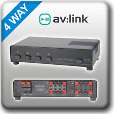 P6B AV:LINK AUDIO 4 WAY Loud SPEAKER Splitter SWITCH Selector Multi Room Stereo