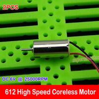 2PC DC 3V 4.5V 6V 25000RPM High Speed Micro Mini 612 Coreless Motor DIY RC Drone