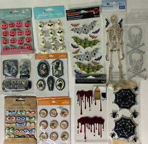 11 Halloween Scrapbooking Sticker Packs 3D Glitter Rhinestones Puffy Skulls