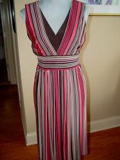 Julian Taylor Dress Size 8  Shirt Dress Polyester Multi-Color Striped  D138