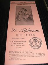 1951 St. Alphonsus Church Grand Rapids Michigan Bulletin, Redemptorist Fathers