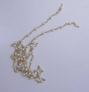 3 FEET WHITE PEARL  GLASS  BEADED  4MM  CHAIN.   * LOT   K 4