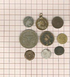 Lote En Estudio! 9 Pièces-jetons-médailles, Billon + Bronce Antiguos Todas Época