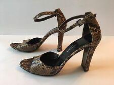 Via Spiga Snakeskin Stack Heel Ankle Strap Heels Sz 7.5 N Made in Italy