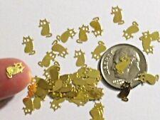 15pc Tiny metal golden cartoon Kitty Cat charm fairy dust glitter vial Halloween