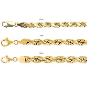 "14k Yellow Gold Rope Chain Twist Link 6mm-8mm Necklace Bracelet Men Women 8""-30"""