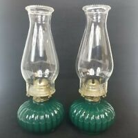 Vintage Opaque Green Glass Oil Kerosene Lamp Light Farms Hobnail Lot of 2