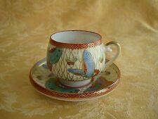 Vintage Japan Lithophane Cup & Saucer Demitasse Geisha Butterflies Gold Trim
