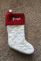 """NWOT Pottery Barn Linen & velvet diamond Christmas stocking monogrammed """"Joseph"""""""