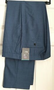 M&S COLLECTION Blue Textured Tailored Fit Trousers  PRP £44