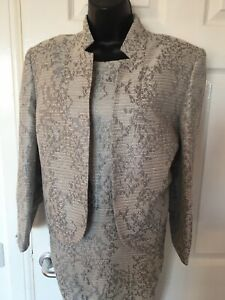 Classic By M&S  Silver Grey Mother Of Bride  Dress & Matching Jacket 16