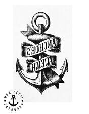 ►► Tatouage Temporaire Ephèmère Ancre Marine Navigation Style Bijou encre