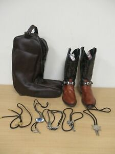 Justin Style Cowboy Boots Size 9 In Boot bag And Mixed Neckties (C987)