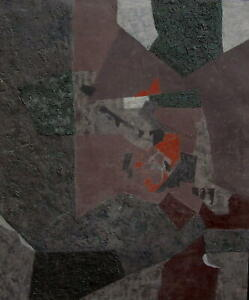 Ilse Kresges 1910 Essen / großes Gemälde, verso signiert / Komposition / um1960