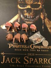 Hot Toys Captain Jack Sparrow POTC DX15 Hands x 7 & Pegs loose 1/6th scale