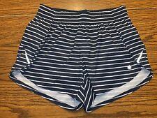 "Athleta Print Racer Run 4.5"" Shorts Size Small Navy Stripe 210533-01"