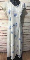 MY MICHELLE Size 7/8 Dress Maxi Blue Beige Floral Sleeveless Full Long Vneck