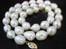 "NEW 9-10mm white freshwater pearl necklace 18""AAA"