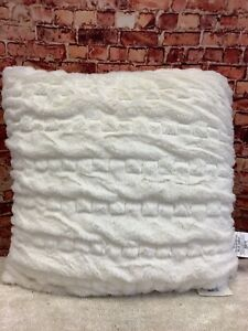Madison Park Ruched Fur One Size Ivory Euro Pillow - 24in x 24in