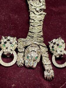Vintage Kenneth Jay Lane KJL AVON Panther Rhinestones Brooch Pin & Earring Set