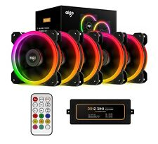 Aigo Aurora 5-IN-1 Kit 5-Pack RGB Halo Ring LED 120mm Computer Case Cooling Fan