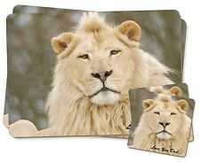 White Lion 'Love You Dad' Twin 2x Placemats+2x Coasters Set in Gift B, DAD-149PC