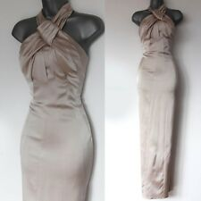 KAREN MILLEN Champagne Knot Halterneck Party Wedding Bridesmaid Maxi Dress 12 UK