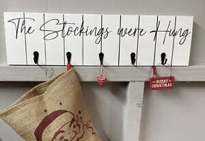 Christmas Sign/The stockings were hung/xmas decor/stocking hook/white xmas decor