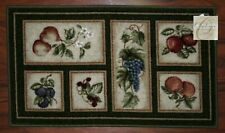 20X34 Kitchen Rug Mat Olive Green Beige Washable Fruit Grapes Pears Apples Peach