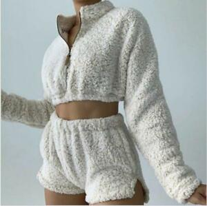 2Pcs Womens Tops Shorts Suit Shaggy High Neck Faux Fur Zip Long Sleeves Cropped