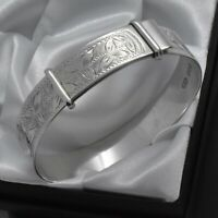 1947 Vintage 925 Sterling Silver Leaf Design Adjustable Adult Bangle Bracelet