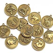 12Pcs Copper Coated Tibet Buddhist Bodhisattva Chinese Zodiac 12 Animals Beads F