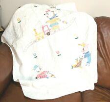 Vintage Nursery Rhyme Handmade Patchwork Embroidered Baby Blanket 1960s