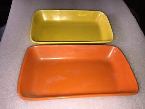 Vintage Stangle blue green solid color set of 2 tray serving dish MCM