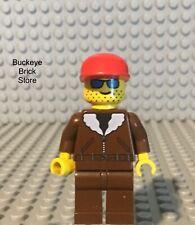 LEGO Minifig Adventurers Aviator Airplane Plane Bush Pilot Brown Bomber Jacket