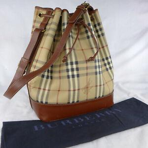 Authentic Vintage Burberry Haymarket Check Medium Shoulder Drawstring Bucket Bag