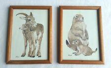 Vintage Pair of Lk Powell Prints Prairie Dog Bighorn Sheep Mom Baby Framed