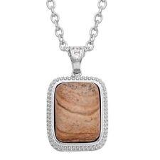 """Picture Jasper & Simulated Diamond Pendant In Silver Bond With Chain 20"""""""