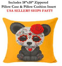 "18x18 18"" PANDA DAY OF THE DEAD TATTOO ART Zippered Throw Pillow Case & Cushion"