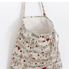 2-layer Cotton Linen Fabric Eco Reusable Bag Shopping Tote House Tree L265 S#