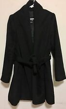 Korean Brand About Basic Women's Open-front trench Coat, Black SIZE L/M