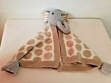 NYGB  Elephant Baby Security Blanket Knit Sweater Knots Dots Stripes Tan Grey