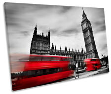 Red Bus London Big Ben Picture SINGLE CANVAS WALL ART Print