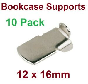 10 x Pack BOOKCASE SUPPORTS STRIP SYSTEM SHELF SUPPORT STEEL 12x16mm New PUP10